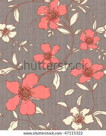 gray. red  Retro floral seamless background - stock photo