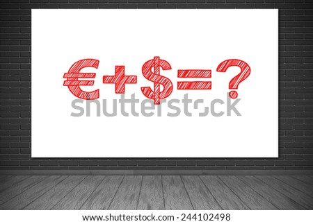gray room and placard with drawing business formula - stock photo