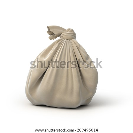 gray sack, isolated on white - stock photo