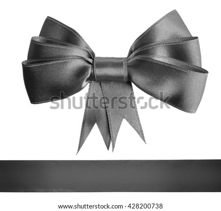 Gray satin bow and ribbon isolated on white - stock photo