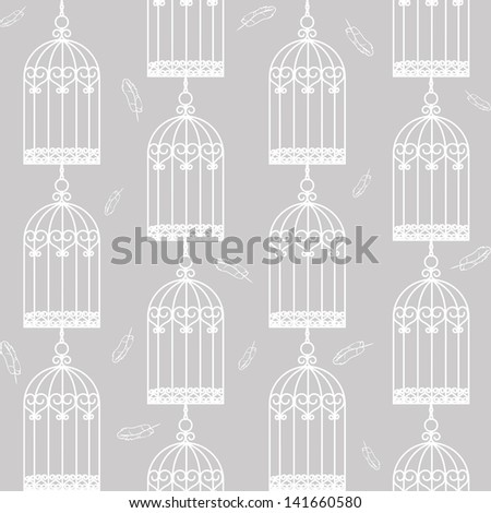 Gray seamless background with birdcages and feathers - stock photo