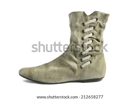 Gray shammy flat boot with lacing isolated over white