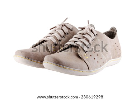 gray shoes isolated on white background. - stock photo