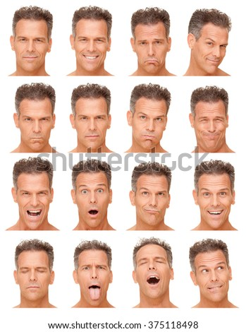gray short hair adult caucasian man collection set of face expression like happy, sad, angry, surprise, yawn isolated on white