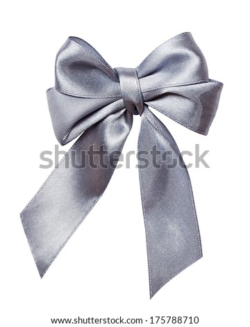 gray, silver  bow, ribbon isolated on white - stock photo