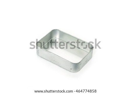 gray silver or steel box old open cover on white background.