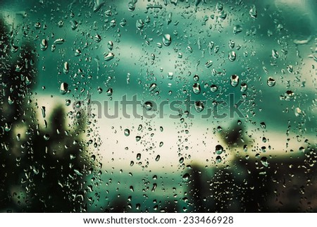 gray skies and wet window after rain - stock photo