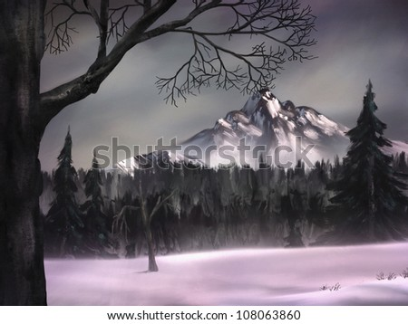 gray sky over a cold mountain peak surrounded by a dark forest of pine trees - stock photo