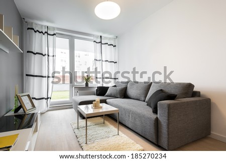 Gray sofa in modern living room apartment - stock photo