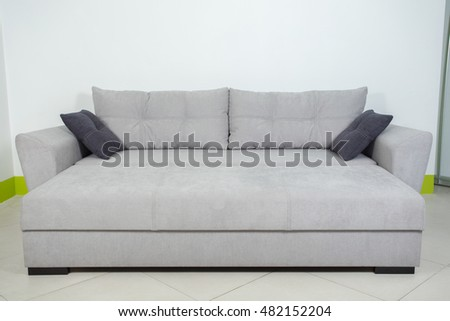 gray sofa on white background decomposed