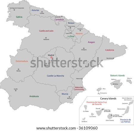 Gray Spain map with regions and main cities