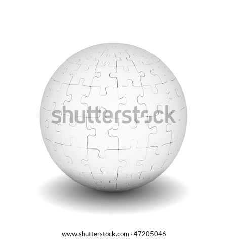 Gray sphere of puzzles on white background