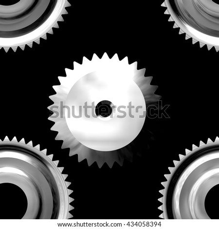 Gray sprockets on dark background - abstract illustration - stock photo