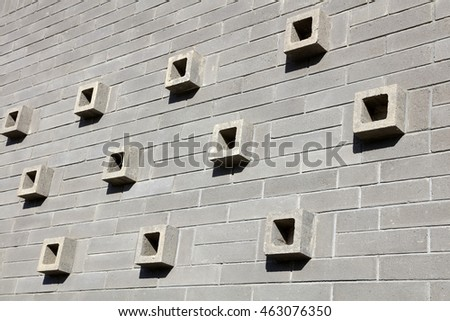 Gray square decoration on the wall