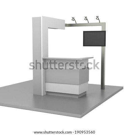 gray stand or booth in a trade show. 3d render - stock photo
