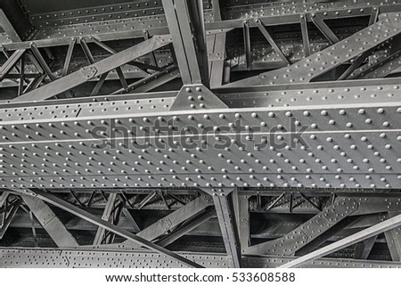 gray Steel construction with rivets