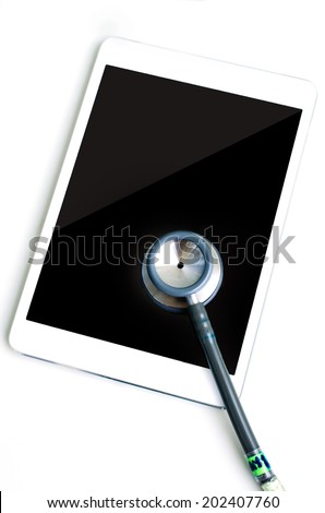 Gray Stethoscope with tablet compute .