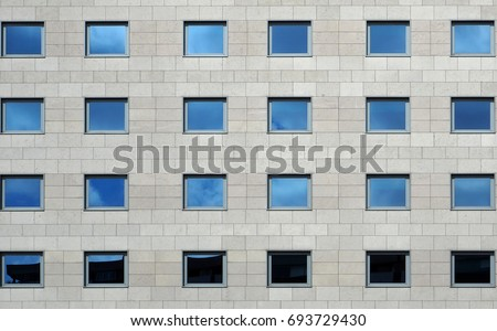 Gray Stone Modern Facade Building Windows Stock Photo