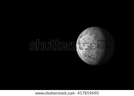 Gray stone planet in deep dark space. Natural satellite or planet visually similar to the Moon. Lot of copy space for your content. 3D illustration. - stock photo