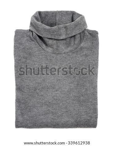 gray sweater turtle neck isolated on white background