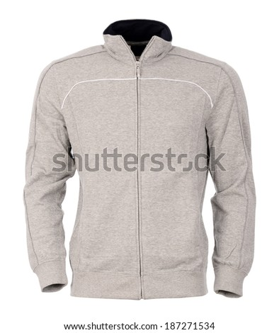 Gray sweater with zipper isolated on white background - stock photo