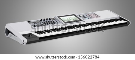 gray synthesizer isolated on gray background