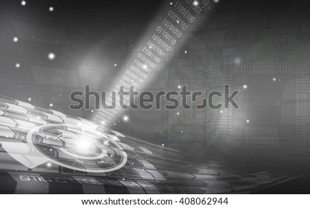 Gray technology background and abstract digital tech circle.copy space. - stock photo