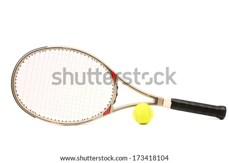 Gray tennis racket and yellow ball. Isolated on a white background.