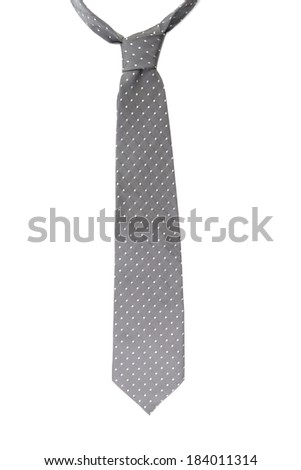 Gray tie with white speck. Isolated on a white background. - stock photo