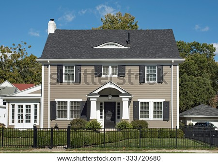 Gray Two Story House - stock photo