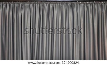 Gray Velvet Textile Curtains Background Backdrop - stock photo
