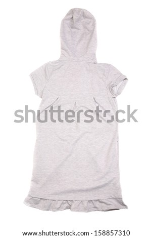 Gray vest with hood back view isolated on a white background