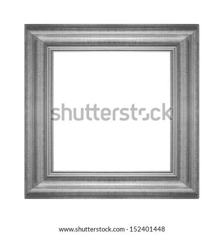 Gray vintage frame isolated on white background - stock photo