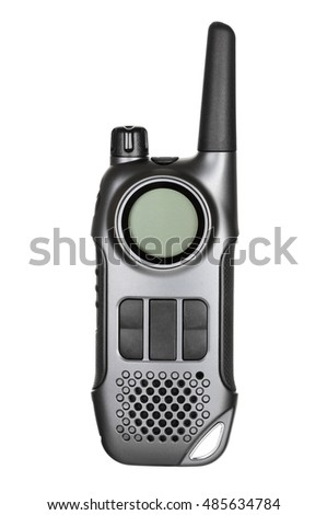 Gray walkie-talkie radio isolated on white background.With clipping path