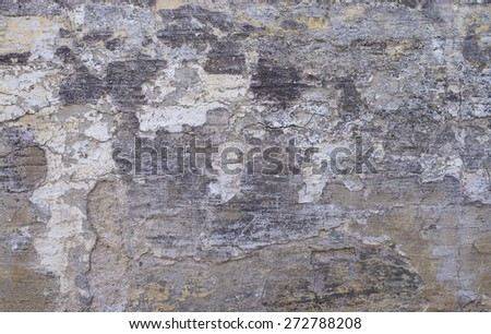 Gray wall background texture, old rustic wall covered with gray stucco - stock photo