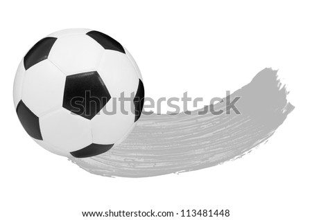 Gray watercolour Blush and one soccer ball isolated on white background - stock photo