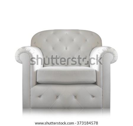 Gray-white sofa Isolated on white background. - stock photo