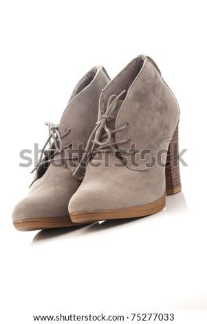 gray womens shoes - stock photo