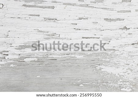 Gray wooden background of weathered distressed rustic wood with faded white paint  - stock photo