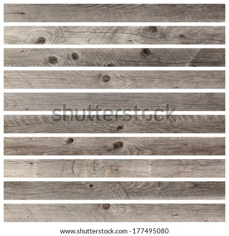 gray wooden boards isolated on white for your design - stock photo