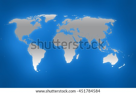gray world map on blue background