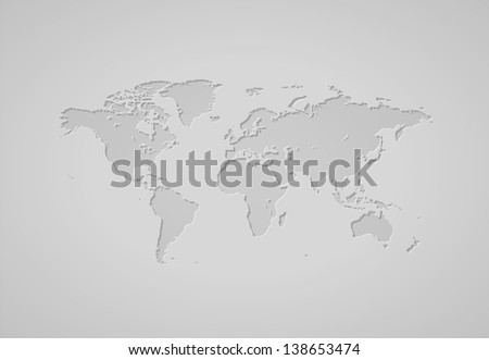 Gray world map. Raster version. Vector version is also available. - stock photo