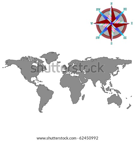 gray world map with wind rose, abstract art illustration; for vector format please visit my gallery - stock photo