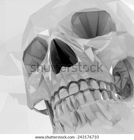 Grayscale crystal skull made of polygons. - stock photo