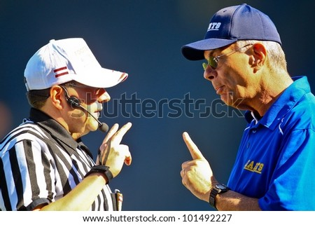 GRAZ, AUSTRIA - APRIL 9 Head coach Rick Rhoades has a discussion with the head referee on April 9, 2011 in Vienna, Austria. The Graz Giants beat the Vienna Vikings 21:14.