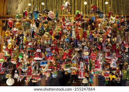 GRAZ, AUSTRIA - JANUARY 10, 2015: Christmas decoration shop in Graz, Styria, Austria on January 10, 2015. - stock photo