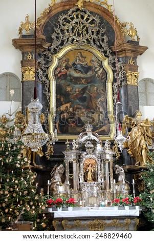 GRAZ, AUSTRIA - JANUARY 10, 2015: Main altar, Mariahilf church in Graz, Styria, Austria on January 10, 2015. - stock photo