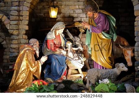 GRAZ, AUSTRIA - JANUARY 10, 2015: Nativity scene, creche, or crib, birth of Jesus in Franciscan Church in Graz, Styria, Austria on January 10, 2015. - stock photo