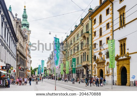 GRAZ, AUSTRIA - JUN 27, 2014: Architecture of the downtown in Graz, Austria. Graz is the capital of federal state of Styria and the second largest city in Austria