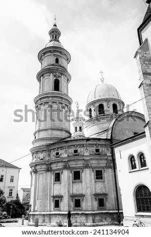GRAZ, AUSTRIA - JUN 27, 2014: Graz St. Catherine`s church and Mausoleum of Ferdinand II in Graz. Graz is the capital of federal state of Styria and the second largest city in Austria - stock photo